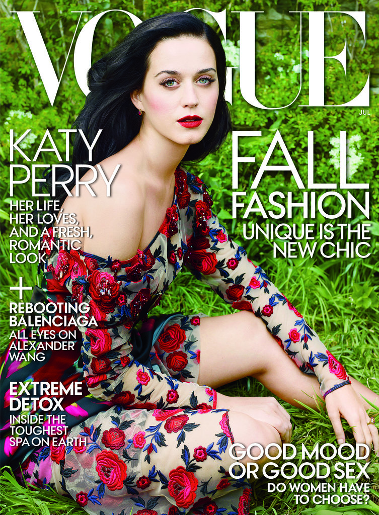 "Katy Perry shared her love for John Mayer with Vogue: ""I was madly in love with him. I still am madly in love with him. . . . Beautiful mind, tortured soul."" Source: Annie Leibovitz/Vogue"