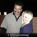 StarTalk Radio host Neil deGrasse Tyson congratulates The Big Bang Theory star Kaley Cuoco on her Hollywood Walk of Fame honor. The astrophysicist also noted that the CBS show ranks above the Universe in a Google search.