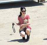 Krysten Ritter took advantage of her Wednesday afternoon break and walked her dog on the Veronica Mars set in LA.