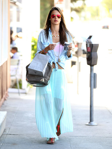 Alessandra Ambrosio colored the streets of Brentwood, CA, in a minty pleated maxi skirt, a chambray Sam & Levi shirt, mirrored Ray-Ban aviator sunglasses, and Lola James bracelets.