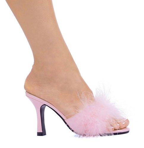 "Ellie Shoes E-361-Sasha, 3.5"" Heel Maribou Slippers-Satin-Boutique.com"