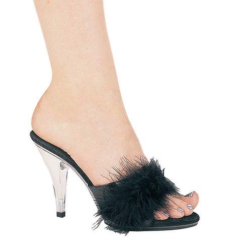 "Ellie Shoes E-405-Sasha, 4"" Heel Maribou Slippers-Satin-Boutique.com"
