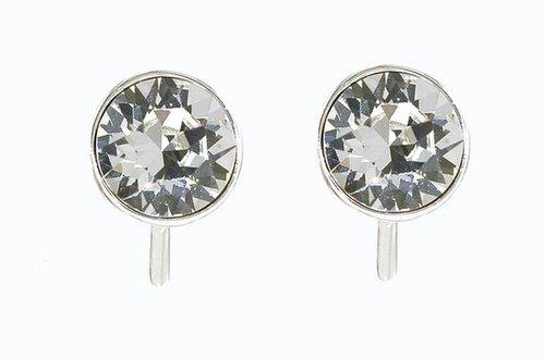 Lilli & Koe Rhodium & swarovski crystal stud clip earrings