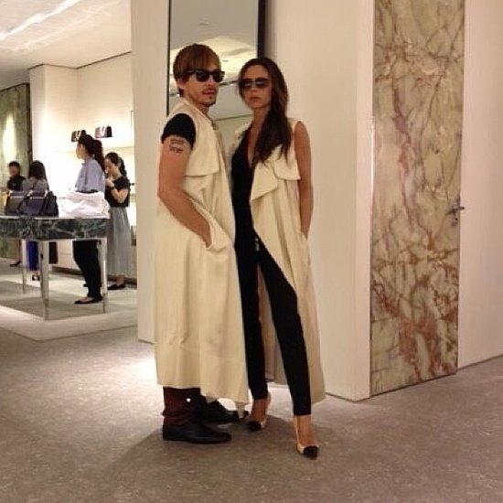 "Victoria Beckham shared a photo of her and her pal Ken Paves during a shopping trip in Beijing with the caption: ""Who wore it best?"" Source: Instagram user victoriabeckham"