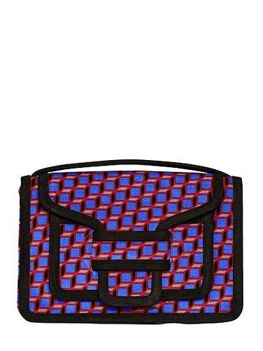 Cube Print Velvet Shoulder Bag