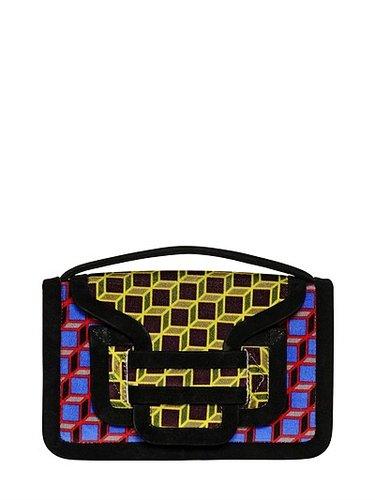 Bag 61 Cube Print Velvet Shoulder Bag