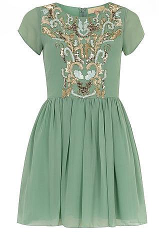 Mint green embellished dress