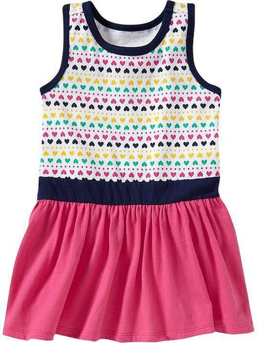 Printed Color-Blocked Tank Dresses for Baby