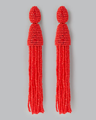 Oscar de la Renta Beaded Long Tassel Earrings, Cinnabar