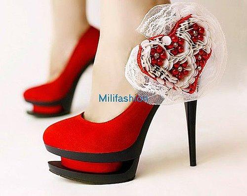 Fashion cheap Red heart high heel shoes wedding shoes_High shoes_Fashion shoes_Mili fashion Trade Co.Ltd