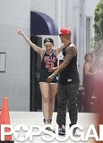 Miley Cyrus danced while walking out of a studio.