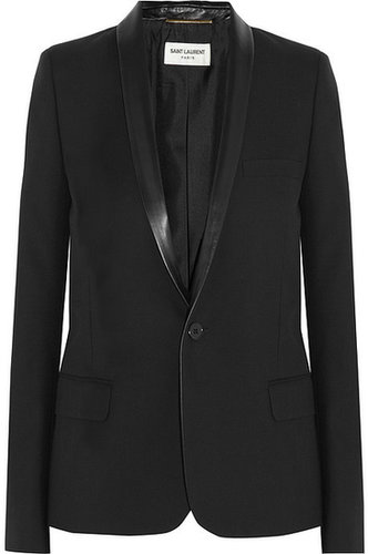 Saint Laurent Leather-trimmed wool-gabardine tuxedo jacket