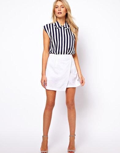 ASOS Linen Mini Skirt with Wrap Detail