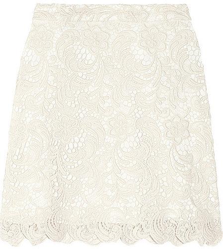 Alice + Olivia Lucia cotton-blend lace mini skirt