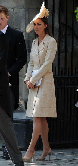 Kate Middleton was one sophisticated wedding guest in a printed coat and matching hat when Zara Phillips got married in Edinburgh in July of 2011. To mimic Kate's style, top your wedding attire with a statement coat for the ceremony, then take it off for the reception.