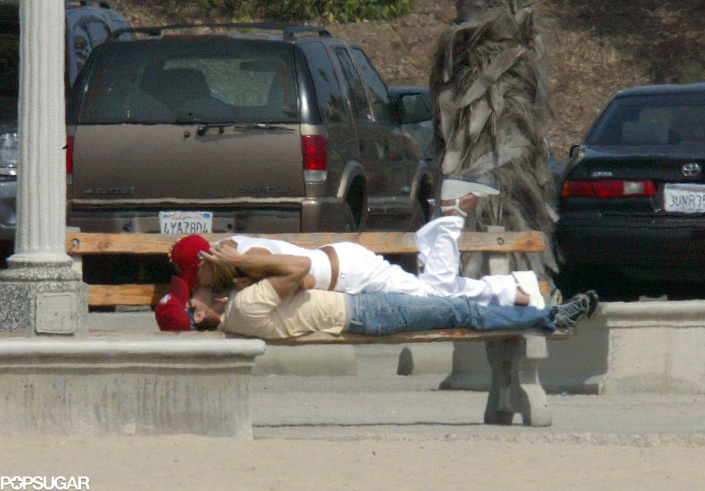 Anna Kournikova and Enrique Iglesias found a nearby park bench in Santa Monica, CA, for some PDA in September 2003.