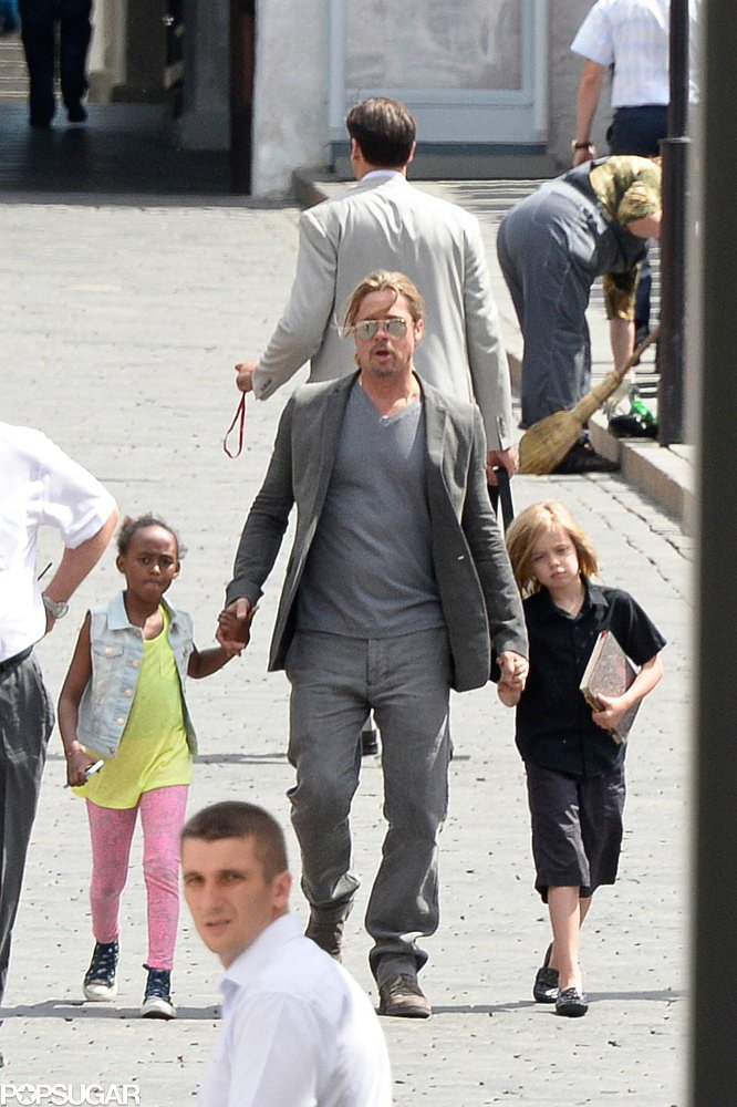 Brad Pitt took Shiloh and Zahara to the Moscow Film Festival.
