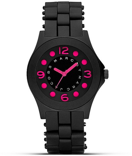 """MARC BY MARC JACOBS """"Pelly"""" Black and Pink Silicon Watch, 36.5mm"""
