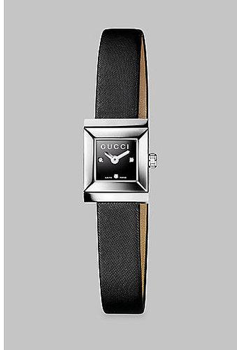 Gucci G-Frame Diamond & Satin Strap Watch