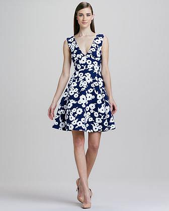 Kate Spade New York Martin Floral-Jacquard Flare Dress