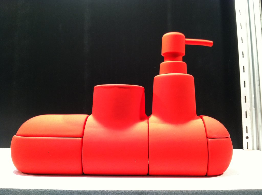 Design store A + R showcased the Submarino, the latest from Spanish designer Hector Serrano. Intended for the bathroom, the sections are covered in rubber and connected with magnets. Think of it as the grown-up and functional version of the rubber ducky.