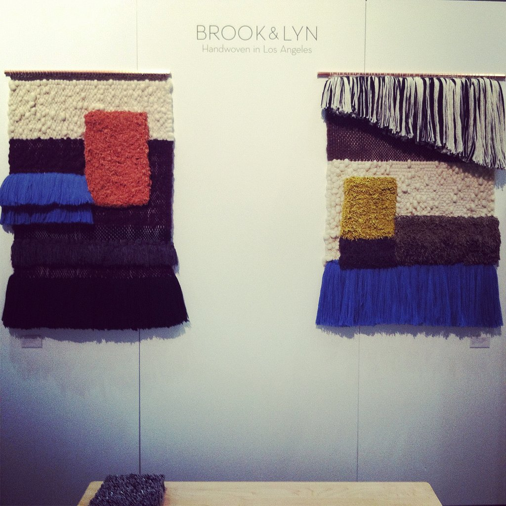"We agree with artist Cathy Callahan, who recently said, ""Weaving is the new knitting."" Weaving really is popping up everywhere these days, including at Dwell on Design, where Brook & Lyn made its West Coast debut. Recent transplants from NY (hence the name, ahem), the design duo showed a range of earthy large-scale weavings."
