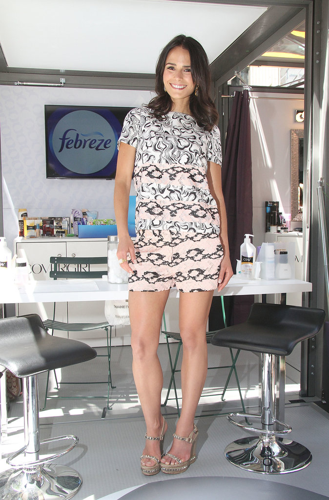 Jordana Brewster picked a cool printed romper and wedge sandals at a daytime event in NYC.