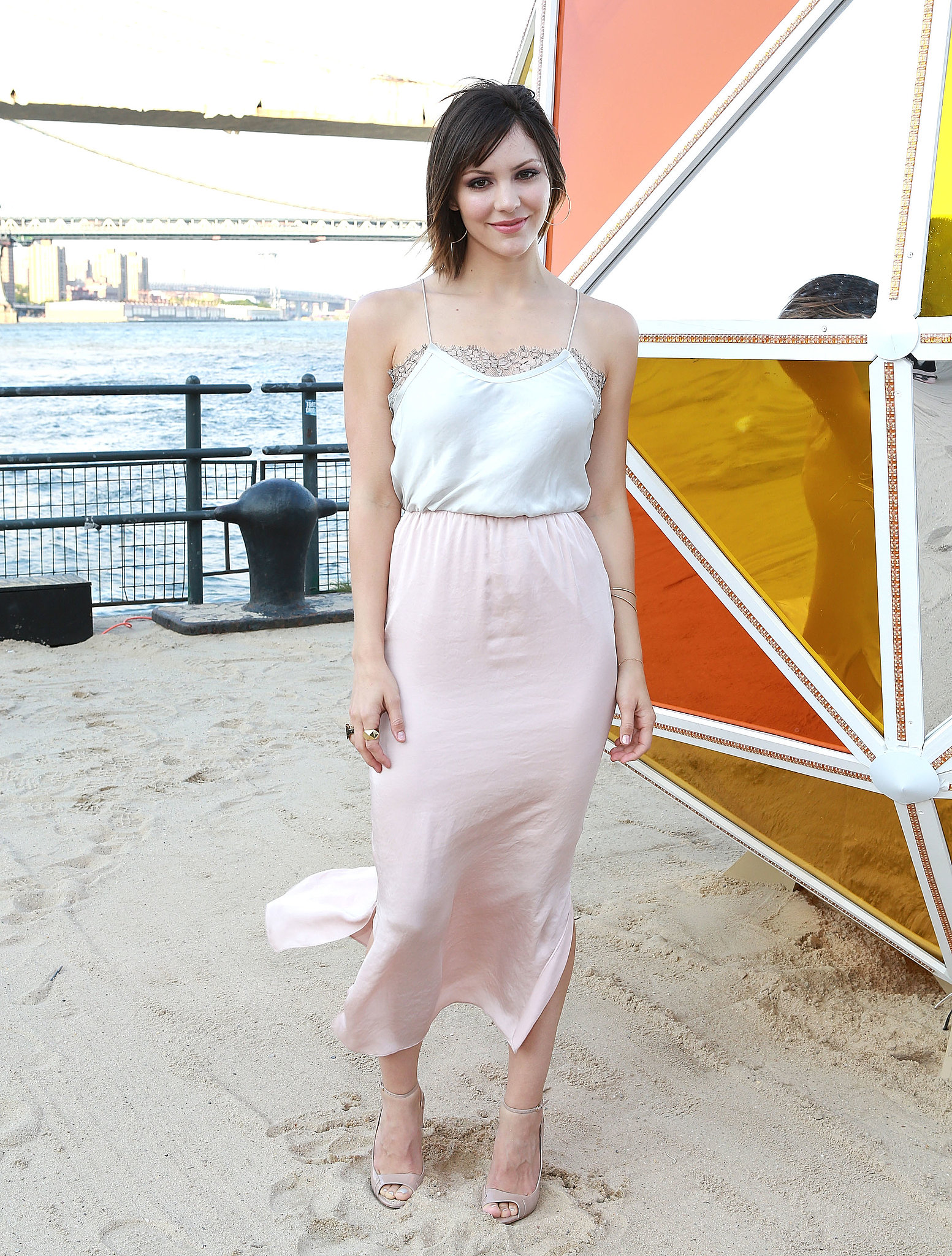 Katharine McPhee looked dainty in a silk Tome dress at the Feel the Taste Summer soiree in NYC.