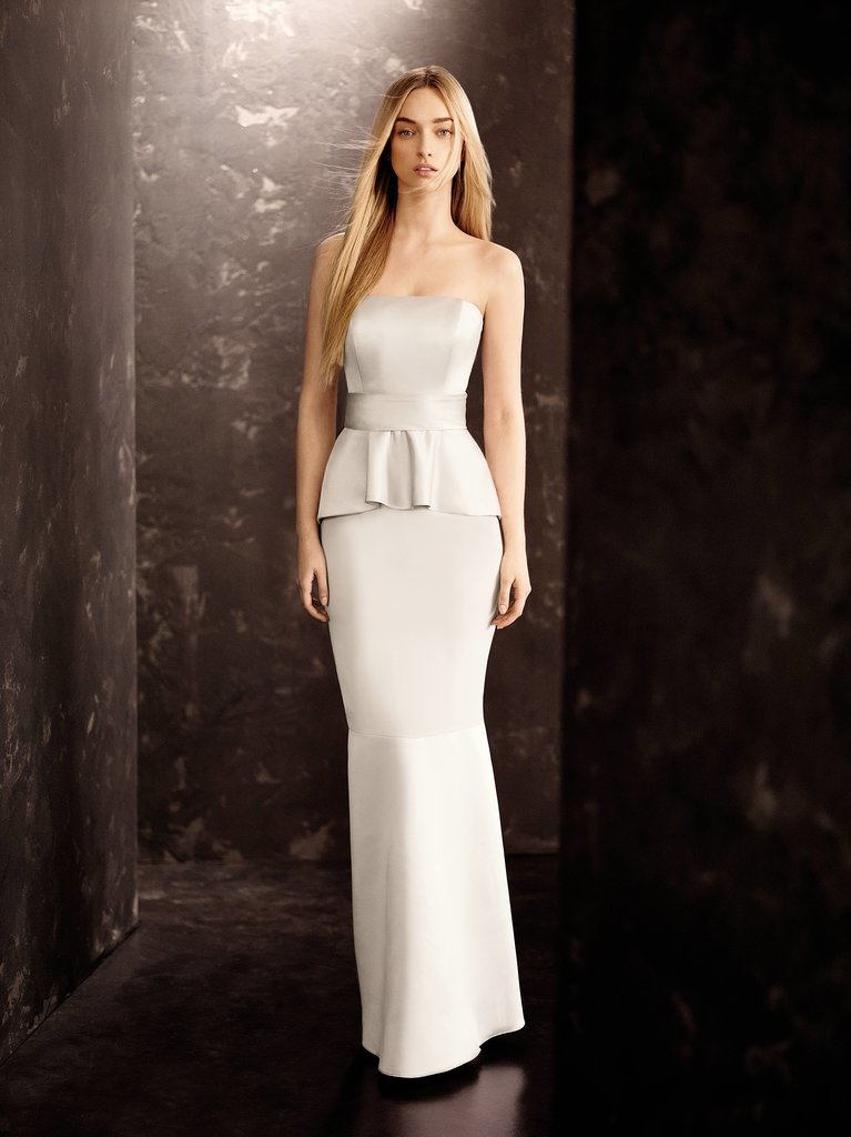 Satin and Matte Crepe Peplum Dress with Satin Sash ($178) Photo courtesy of White by Vera Wang