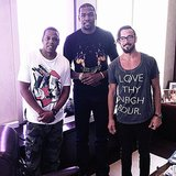 NBA player Kevin Durant towered over Jay-Z during an office visit. Source: Instagram user easymoneysniper