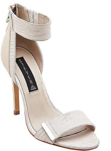 STEVEN BY STEVE MADDEN Lipsrvce Embossed Leather High-Heel Sandals