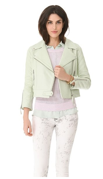 In buttery leather and the perfect shade of mint green, we can hardly think of a place or a look we wouldn't wear with this Club Monaco Davie leather motorcycle jacket ($238, originally $595).
