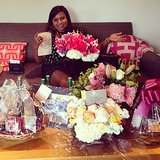 Mindy Kaling shared this photo of herself surrounded by birthday bouquets and gifts. Source: Instagram user mindykaling