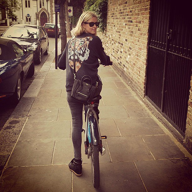 Nicky Hilton cruised around London on her bike in an insanely cool tiger sweatshirt. Source: Instagram user nickyhilton