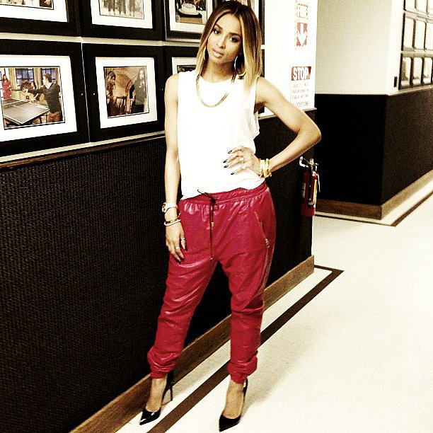 Ciara wore a cool pair of slouchy red leather pants for an appearance on Access Hollywood. Source: Instagram user ciara