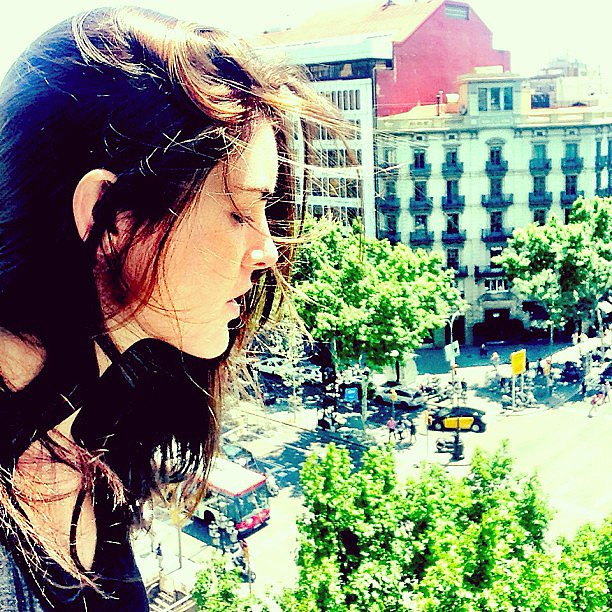 Hilary Rhoda took in the view from her Barcelona balcony. Source: Instagram user hilaryhrhoda