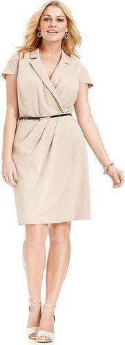 Spense Plus Size Dress, Short-Sleeve Faux-Wrap Belted