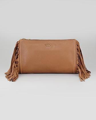 Prada Cervo Fringe Clutch Bag, Dark Camel