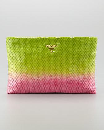 Prada Degrade Sequin Pouch Clutch Bag, Felce