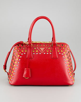 Prada Saffiano Crystal-Studded Promenade Bag, Red/Orange