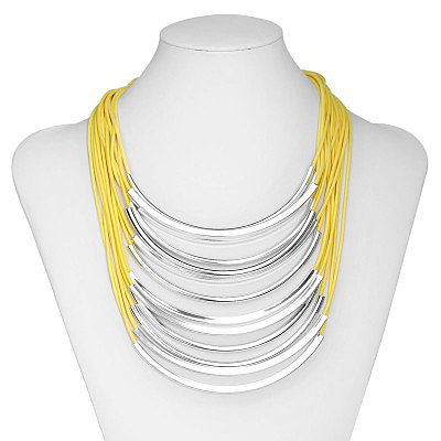 Neon Yellow Cord Tube Layer Necklace