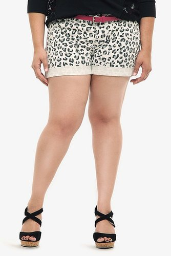 Torrid Denim - White Leopard Belted Shorts