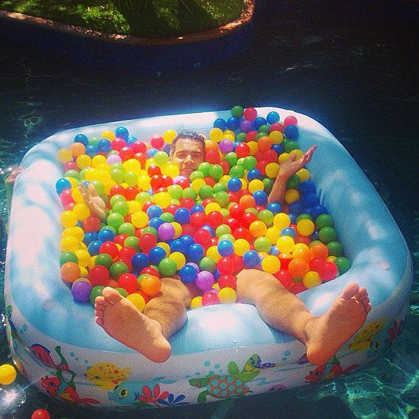 Cash Warren took a dip in a homemade ball pit. Source: Instagram user cash_warren