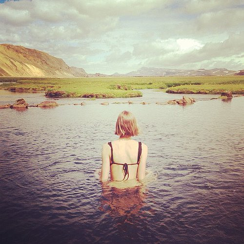 Karlie Kloss donned a bikini during a trip to Iceland. Source: Instagram user karliekloss