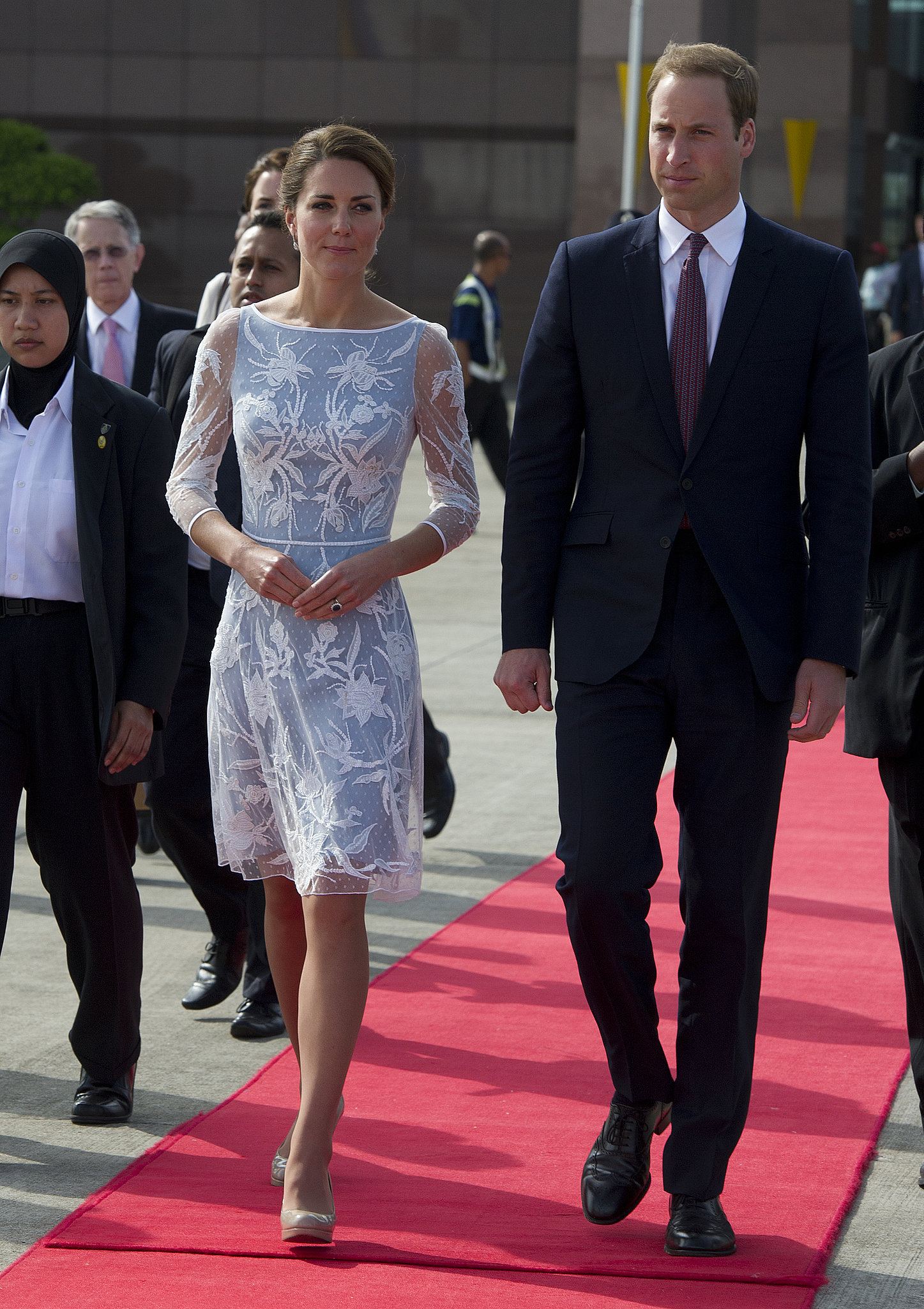 In September 2012, Kate  and William looked stylish as they left Kuala Lumpur, Malaysia, during their official royal trip.