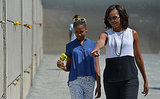 First Lady Michelle Obama visited the Berlin Wall in June with her daughters, Sasha and Malia.