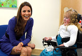 Kate Middleton met a young woman during a visit to The Treehouse, a children's hospice in Ipswich, England, back in March 2012.