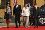 Barack and Michelle Obama attended a dinner in the president's honor with German Chancellor Angela Merkel and her husband, Joachim Sauer, in Berlin, Germany, in June.