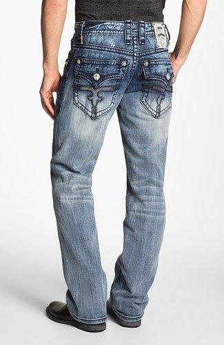 Rock Revival 'Dain' Straight Leg Jeans (Medium Blue)