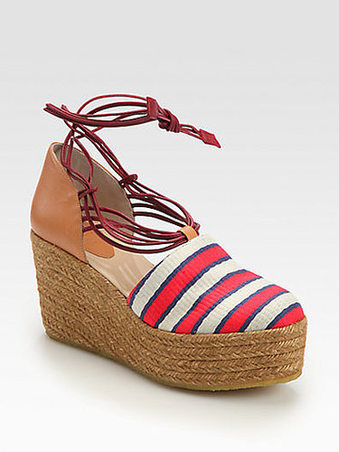 Chloe Striped Canvas & Leather Tie-Up Espadrille Wedges